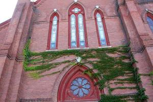 Ornate windows of methodist church, downtown Keene, New Hampshire.