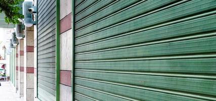 Metal green windows.
