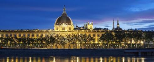 Panoramic view of Lyon at sunset with Rhone river photo