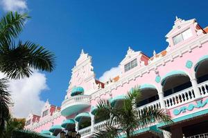 Low angle of a pink and Aqua building in Aruba