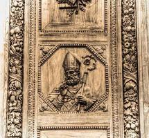 Santa Croce main door in Florence in sepia tone
