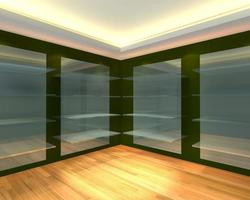 Glass shelves in green empty room photo
