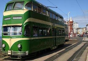 Green and cream double decker Blackpool tram  photo