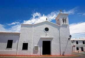 Fornells white church in Menorca at Balearic islands