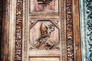 close up of Santa Croce main door in Florence