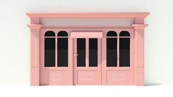 Sunny Shopfront with large windows White and pink store facade