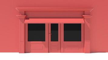 Sunny Shopfront with large windows White and red store facade