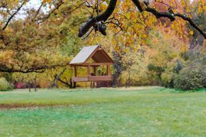 Futterhäuschen für Vögel im Herbstpark.