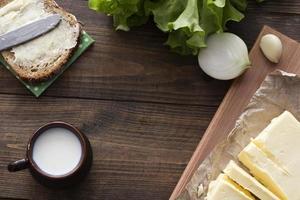 milk, sandwich , greens , butter