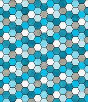 Blue, White and Gray Hexagon Mosaic Abstract Geometric Design Ti
