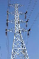 High voltage power pole with blue sky photo