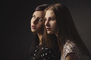girls studio portrait on dark background