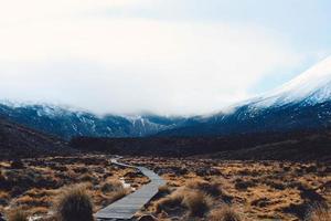 wandelaars op loopbrug naast berg