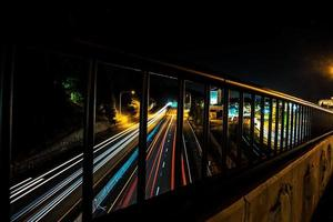 Time lapse traffic on highway