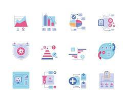 grupo de iconos de infografías sanitarias