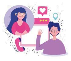 Couple romantic video call  vector
