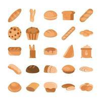 colección de iconos de estilo plano de panadería y productos rechazados