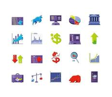 Stock market icons collection vector