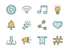 paquete de redes sociales y línea de red e iconos de relleno