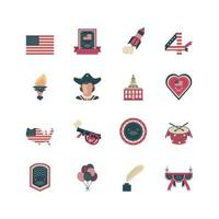 Set of icons of independence day