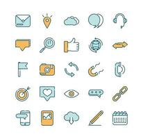 Assorted social media and network line and fill icons vector