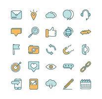 una variedad de iconos de líneas y rellenos de redes sociales