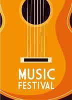 cartel de festival de música con instrumento musical de guitarra