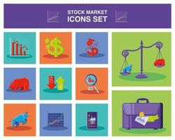 Modern icons set of stock market vector
