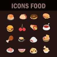 Set of restaurant food and fruits flat style icons vector