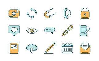 Collection of social media and network line and fill icons vector