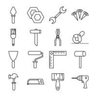 conjunto de iconos de estilo de línea de herramientas y equipos handy-man