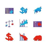Stock market set of icons vector