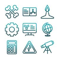Science and research gradient-style icon set vector