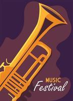 cartel del festival de música con instrumento musical de trompeta