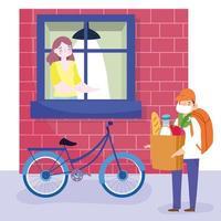 Hombre de mensajería en bicicleta entregando comestibles a una mujer en casa de forma segura vector