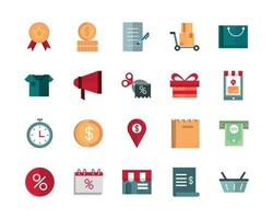 Pack of business and commerce trade vector illustration icons