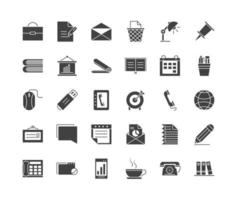 Office supplies and stationery silhouette icon set vector