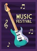 cartel festival de musica con instrumento musical guitarra electrica