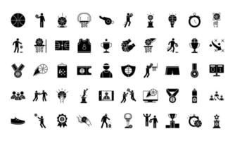 Collection of basketball game silhouette-style icons vector