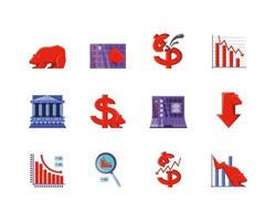 Icons set of stock market vector