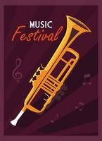 Poster music festival with musical instrument trumpet