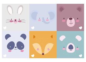 A pack of six of cute animal faces background mix vector