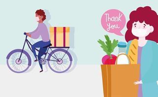 mensajero en bicicleta repartiendo comestibles de forma segura durante el brote de coronavirus