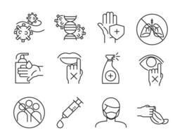 instruções de cuidados de saúde para o pacote de ícones covid-19