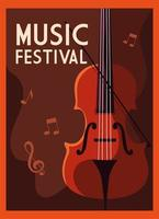 Music festival poster with fiddle and musical notes vector