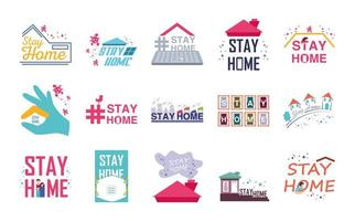 conjunto de iconos quedarse en casa