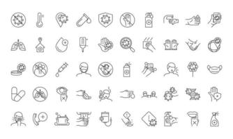 Health care instructions for covid-19 icon set
