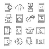 dispositivos en línea y paquete de iconos de estilo de línea de comunicación