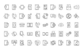 dispositivos en línea y conjunto de iconos de estilo de línea de comunicación