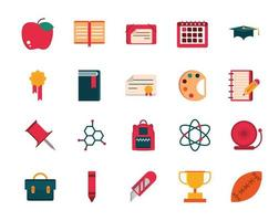 Collection of school supplies and stationery flat design icons